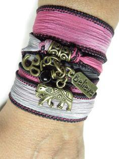 Lucky+Elephant+Silk+Wrap+Bracelet+Om+Yoga+Jewelry+by+HVart+on+Etsy