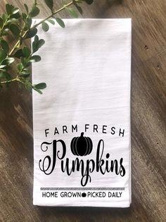 Farmhouse Fall Farm Fresh Pumpkins Flour Sack Tea Towel, Thanksgiving Tea Towel, KitchenTea Towel, C Fall Kitchen Decor, Farmhouse Kitchen Decor, Fall Decor, Farmhouse Style, Cottage Style, Dish Towels, Tea Towels, Bead Board Walls, Small Cottage Kitchen