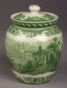 Green Toile Castle Scene Biscotti or Cookie Jar