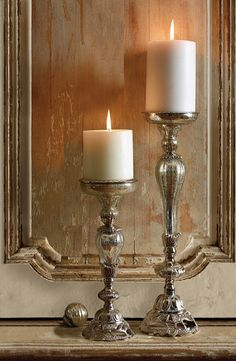 Our Crackle Glass Candleholders are at once vintage, sophisticated, and timeless.