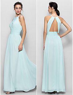 Vestido de Dama de Honor - Azul cielo Corte Recto Escote Joya - Hasta el Suelo Gasa