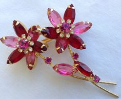 VINTAGE JULIANA RED,  PINK, & CLEAR RHINESTONE FLOWER BROOCH  | eBay