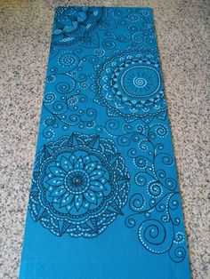 Hand painted my personal yoga mat. Zentangle & doodle design, flower zendala