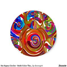 Six Sigma Circles - Reiki Color Therapy Plates V8 Classic Round Sticker