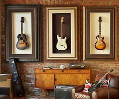 creative guitar stands and art at the same time. Do I have enough wall space for all the guitars?