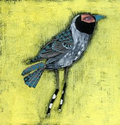 """""""Razzle Dazzle"""" #bird #mixed media 4x4 on wood.. paint and #collage.  by Charlotte Foust"""