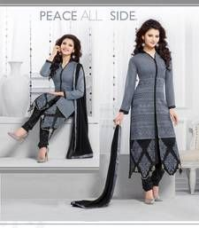 Buy gray and black georgette embroidered semi_stitched salwar with dupatta party-wear-salwar-kameez online
