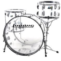 This brand new Ludwig Vistalite reissue kit was specially ordered by component, and includes sizes 13x9, 16x16, and 24x14. åÊThe kick drum is a virgin kick with no mounting bracket and heavy duty stan