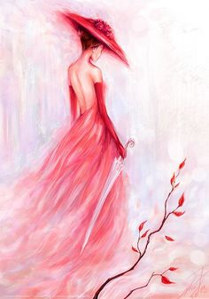 Plum Girl DIY Paint By Diamond Kit is part of Painting Description Diamond Paintings let you create beautiful mosaics without needing to be an artist Pick your canvas up and you& basically - Diy Painting, Painting & Drawing, Dress Painting, Lady In Red, Pink Lady, Amazing Art, Awesome, Watercolor Paintings, Art Paintings