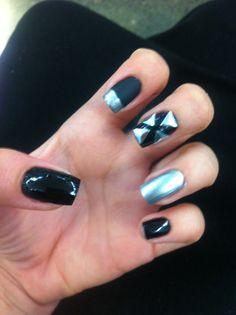 Black matte, black and silver nails