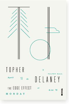 Poster for Topher Delaney lecture. Minimal. Landscape references.