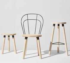 Partridge Chair, Bar Stool & Low Stool | Ash Timber | Powder Coat Bracket | Wire Backrest | Dining