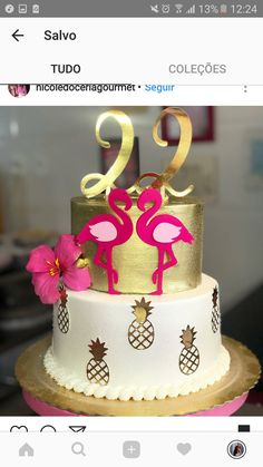 ideias - bolos do flamingo 40th Birthday Cake For Women, Hawaiian Birthday Cakes, Cute Birthday Cakes, Flamingo Cake, Flamingo Birthday, Flamingo Party, Daisy Party, Idee Diy, Sweet 16 Parties