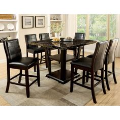 Elivia Modern 7-piece Faux Marble Counter Height Dining Set
