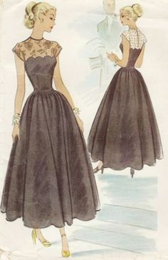 40s Fitted Sheer Lace Top Evening Gown Dress with Full Skirt McCall 7228 cut Sz12/30 14.38+2.5=16.85 3bds 1/30/14