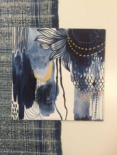 Indigo Gold Abstract Ink on Clayboard van RachaelRiceArt op Etsy