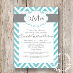 {EDITABLE INSTANT DOWNLOAD} Chevron Monogram /// Turquoise and Gray /// Wedding or Baby Shower /// 5x7 Printable Invitations /// DIY Party by DBNGraphics, $12.00