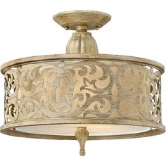 Lend a glamorous touch to your entryway or dining room with this elegant semi-flush mount, showcasing an ivory linen shade, scrolling overlay, and a brushed ...