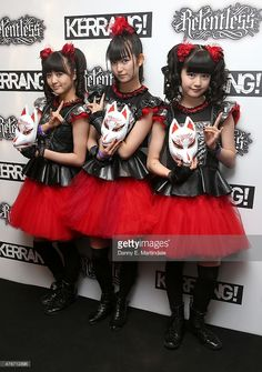 Suzuka Nakamoto as 'Su-metal', Yui Mizuno as 'Yuimetal', and Moa Kikuchi as 'Moametal' from Baby Metal attends the Relentless Energy Drink Kerrang! Awards at the Troxy on June 11, 2015 in London, England.