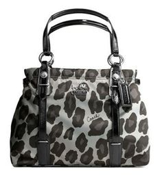 Coach Mia Ocelot Print Carryall in silver, gray, and black shiny sateen with crinkle patent leather trim ($300).