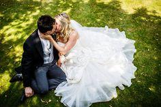 Bride & Groom Dreamy Sitting Down Portrait | Ian Stuart Bridal Gown | Rustic Wedding in a Barn in | Hand Sewn Cobalt Blue Bridesmaid Dresses | DIY Wild Flowers | Images by Lina & Tom | http://www.rockmywedding.co.uk/emily-luke/