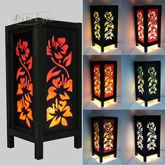 Details about Aladin Hibiscus Flower Print Japanese Table Lamp Wood Frame Home Lighting CA Japanese Table, Japanese Lamps, Kirigami, Room Lamp, Bed Room, Table Lamp Wood, Diwali Decorations, Cool Floor Lamps, Stained Glass Art