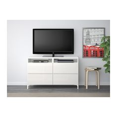 BESTÅ TV unit with drawers - white/Selsviken high-gloss/white, drawer runner, push-open - IKEA