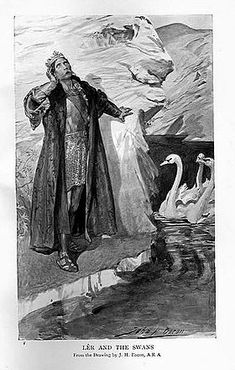 "H.R. Millar's illustration of ""Lêr and the Swans"", 1905. The Children of Lir is one of the most famous tales in Irish legend"