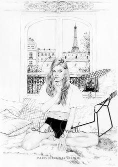 Paris - ORIGINAL SKETCH by Kelly Smith