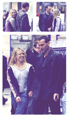 Christopher Eccleston and Billie Piper on set Ninth Doctor, First Doctor, Bbc Doctor Who, Rose And The Doctor, Christopher Eccleston, Billie Piper, Don't Blink, Rose Tyler, Torchwood