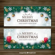 Decorative fir leaves banners and christmas ornaments Free Vector