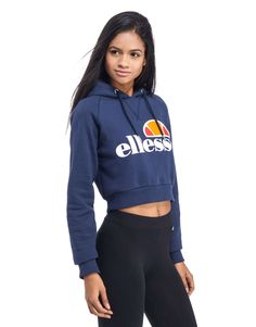 Ellesse Crop Overhead Hoody - Shop online for Ellesse Crop Overhead Hoody with JD Sports, the UK's leading sports fashion retailer. Nike Outfits, Dance Outfits, Outfits For Teens, Sport Outfits, Chloe Fashion, Teen Girl Fashion, Sport Fashion, Fashion Brands, Women's Fashion