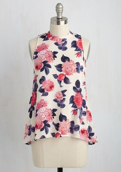 Zeal of Fortune Top in Flowers. Its not any wonder that youre so jazzed about this chiffon tank top - every occasion for which you wear it is a winning one! #white #modcloth