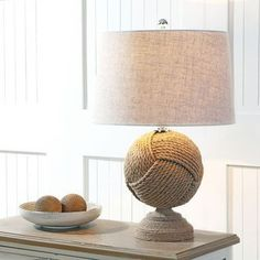 Julieta 24″ Knotted Rope LED Table Lamp, Brown Drum Table, Table Lamp, Monkey Fist Knot, Rustic Lighting, Table Lighting, Decorative Lighting, Lighting Ideas, Living Room Lighting, Bedroom Lighting