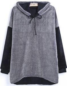 Grey Hooded Long Sleeve Drawstring Wool Sweatshirt