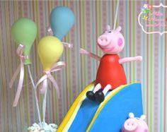 Topo de Bolo Peppa Pig com Escorregador