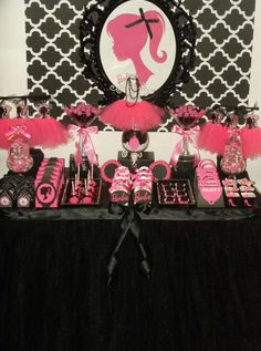 Pink and black dessert table at a Barbie birthday party! See more party planning ideas at CatchMyParty.com!