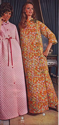 Who's mother had a robe like this? I even had a kids size quilted robe. I will never forget that hideous blue nightmare. Fashion has improved for the better in this area/wards 1970 2 quilted robes