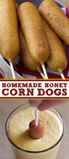 These homemade honey corn dogs are perfect as snack or appetizer. These homemade honey corn dogs are perfect as snack or appetizer and are ready to go in just 45 minutes! Youll never go back to the freezer kind! Think Food, Love Food, Corndog Recipe, Cuisine Diverse, Snacks Für Party, Snacks Kids, Kind Snacks, Food Kids, Hot Snacks