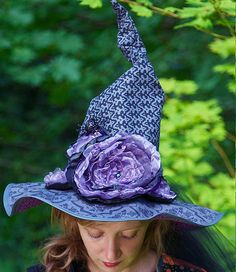 DIY Witch Hat - Whether it's for decoration or costume, this witch hat tutorial is awesome! Great for display on a large wooden candle holder. Add some embellishments, glitter, it's fully customizable.