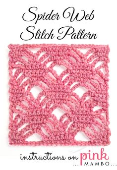 Spider Web Pattern Here's a pretty, lacy stitch pattern just right for summer-weight wraps and stoles. Just crochet a rectangle, maybe put an edging around it, and you're done! This stitch pattern definitely b. Crochet Afghans, Crochet Stitches Free, Crochet Chart, Knitting Stitches, Free Crochet, Crochet Square Pattern, Crochet Squares, Crochet Motif, Crochet Designs