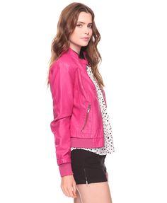 hot pink leather jacket!