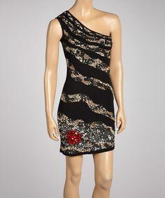 Look what I found on #zulily! Silver Dagger Black & Gold Sequin Asymmetrical Dress by Silver Dagger #zulilyfinds