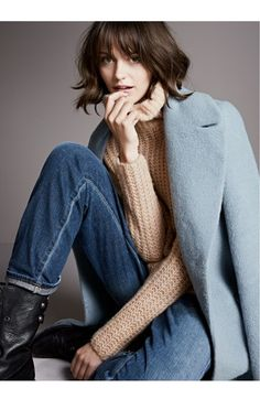 Elie Tahari Notch Collar Coat, Trouvé Sweater & Citizens of Humanity Jeans  available at #Nordstrom