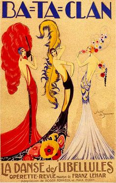 1920's Vintage French theatre advertising art poster for the Ba-Ta-Clan…