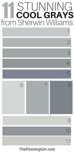 Awesome Cool Gray Paint Shades from Sherwin Williams 11 awesome cool gray paint shades from Sherwin Williams. Best cool grays and coordinating accent awesome cool gray paint shades from Sherwin Williams. Best cool grays and coordinating accent walls Bedroom Paint Colors, Exterior Paint Colors, Exterior House Colors, Paint Colors For Home, Gray Paint For Bedroom, Modern Paint Colors, Wall Colors, Exterior Gris, Light Grey Paint Colors