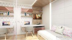 Lindo dormitório para menina com detalhes em vidro rosa e tons neutros,  super sofisticado! Arq. Daiane Moro