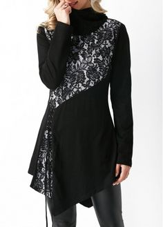Lace Up Asymmetric Hem Hooded Collar Patchwork Blouse on sale only US$33.95 now, buy cheap Lace Up Asymmetric Hem Hooded Collar Patchwork Blouse at liligal.com