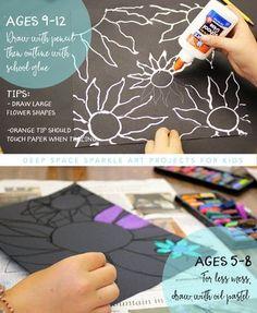 projet fleurs de craie d'art facile pour les enfants de 5-12 ans. Connectez projet artistique avec l'unité d'art Vincent Van Gogh