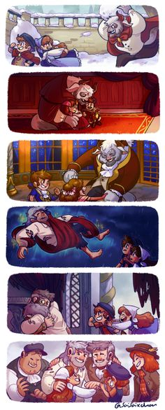 artsycrapfromsai: i wanted to draw some scenes from my Beauty and the Beast AU!! i absolutely had to draw the snowball fight between Stan and the kids, haha. the second image is of everyone sitting in front of the fireplace, and Ford (as the journal) is telling them a story, while Dipper reads it aloud for everyone. the third is the ballroom sequence, and i changed around some of the colors here to fit the characters better. my favorite is Stan's transformation into a human again. i was…